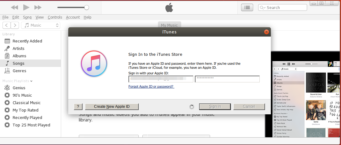 Sign-in to iTunes Store