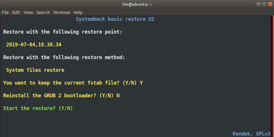 Start restore