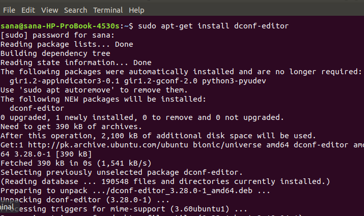 Install dconf editor on Ubuntu