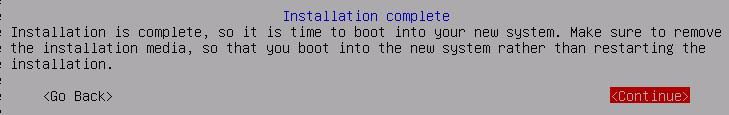 Debian 10 installation is complete