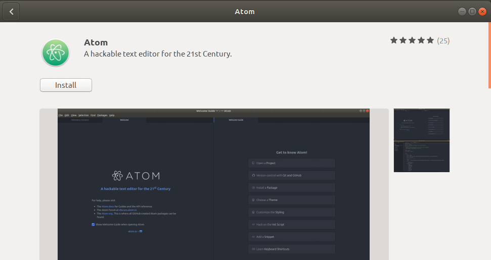 Atom Editor software package