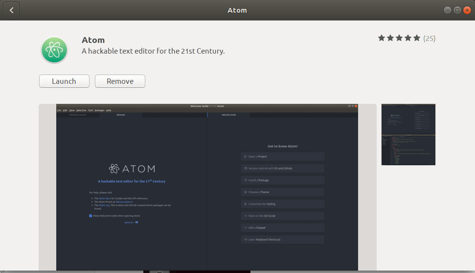 Atom Editor installed successfully