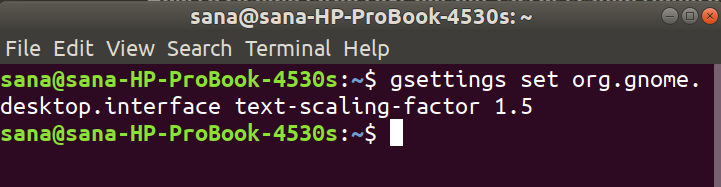 Change Desktop text size trough command-line