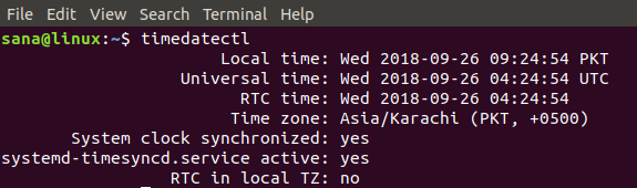 Using timedatectl