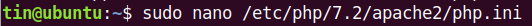 Update php.ini settings