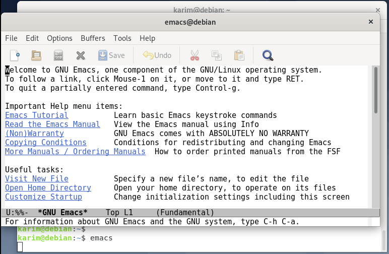 Launch Emacs Editor on Debian