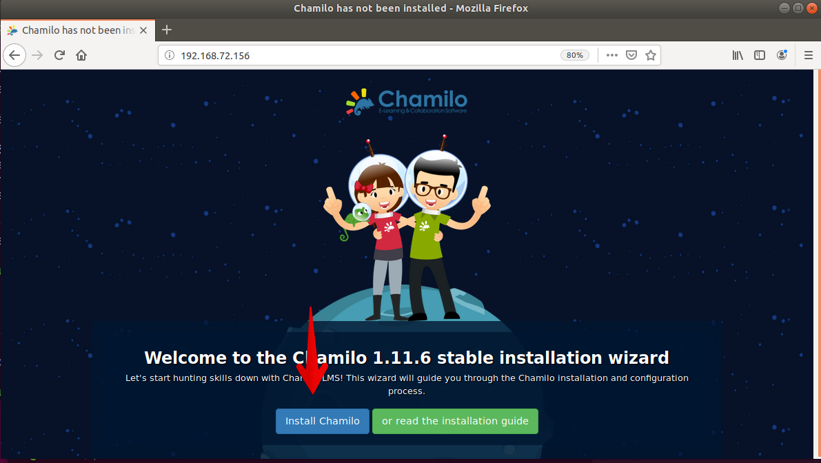 Access Chamilo web interface