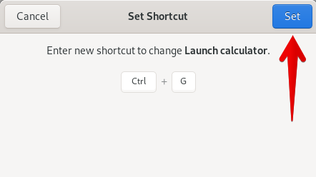 Enter new shortcut