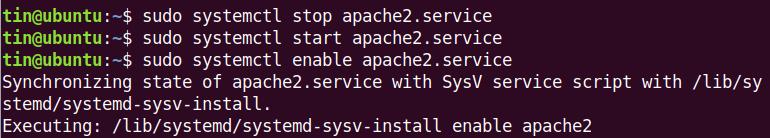 Enable apache2 web service