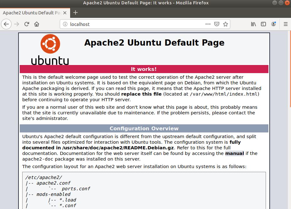 Apache default web page