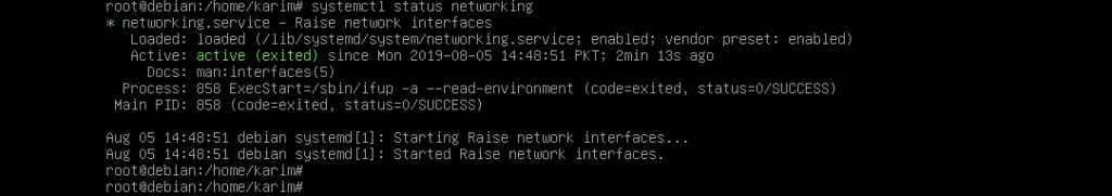 Get status of networking service with systemctl command