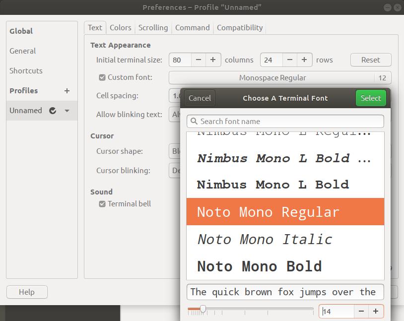 Change Terminal Font