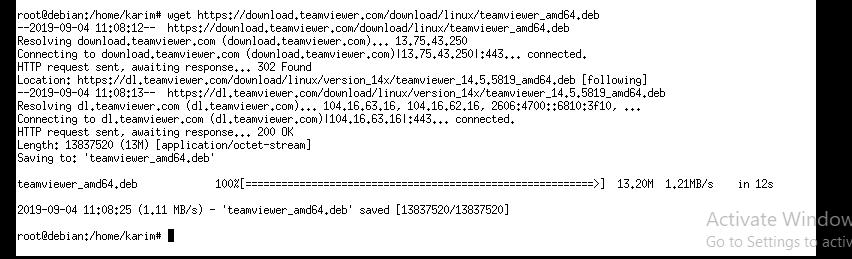 Download TeamViewer Debian package