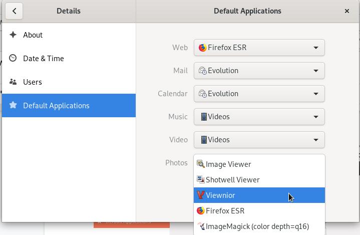 Set Viewnior as the default image viewer in Debian GNOME desktop