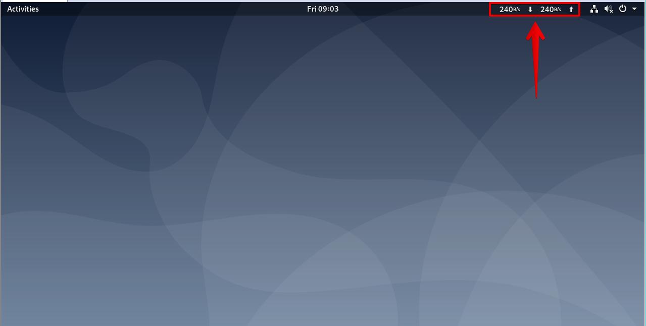 Network speed shown in GNOME Desktop navigation bar