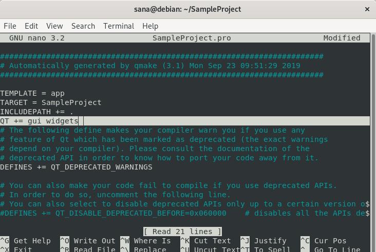 Edit sample project file