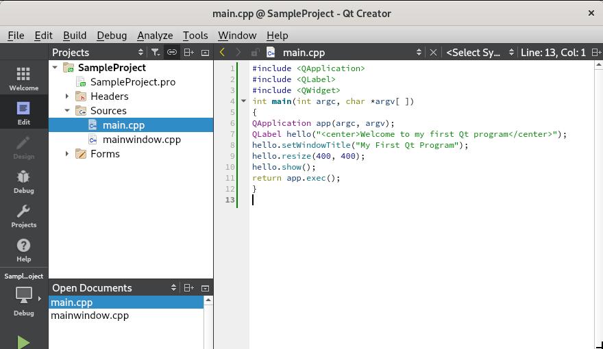 Source code in QT Creator