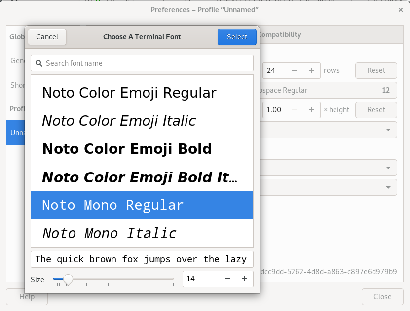Choose a Terminal Font