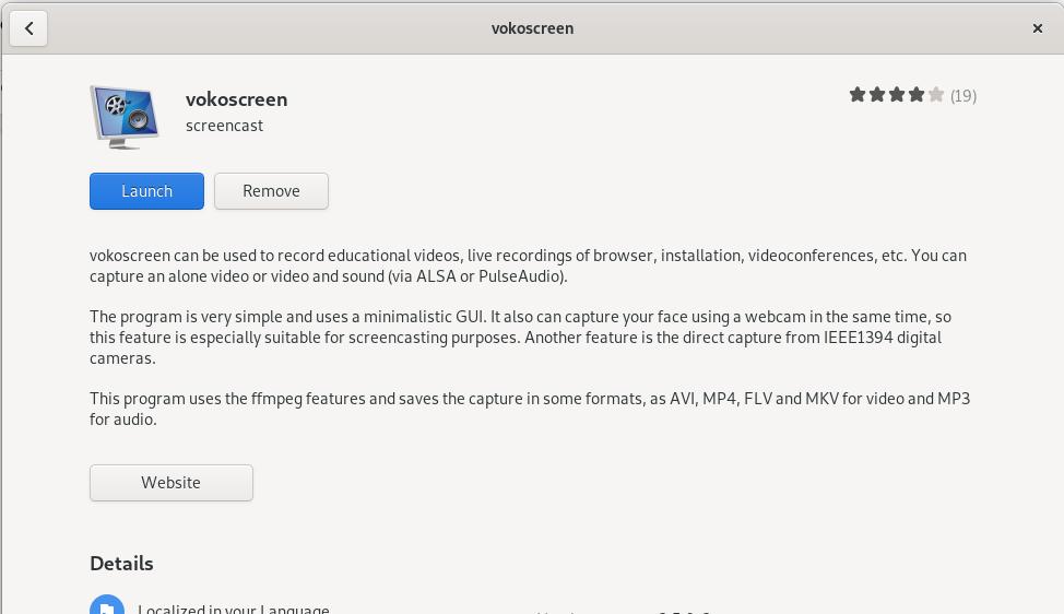 Launch Vokoscreen