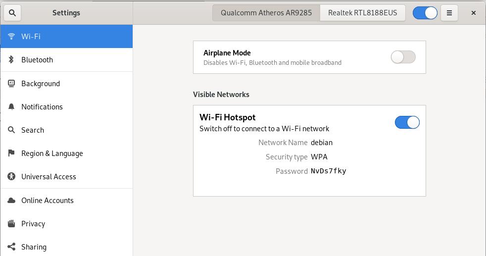WiFi Hotspot settings
