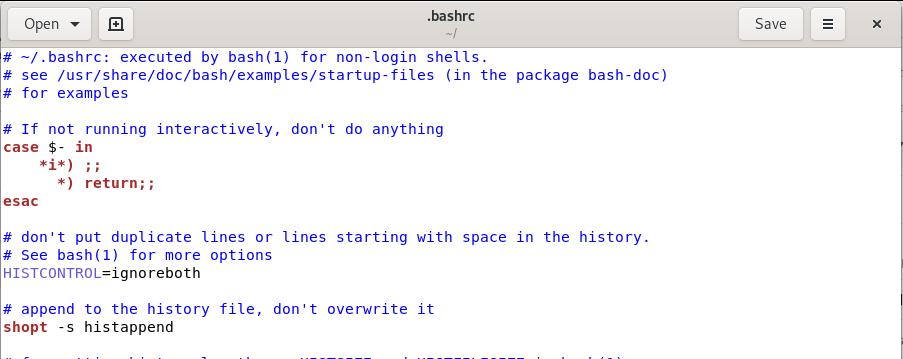 .bashrc file