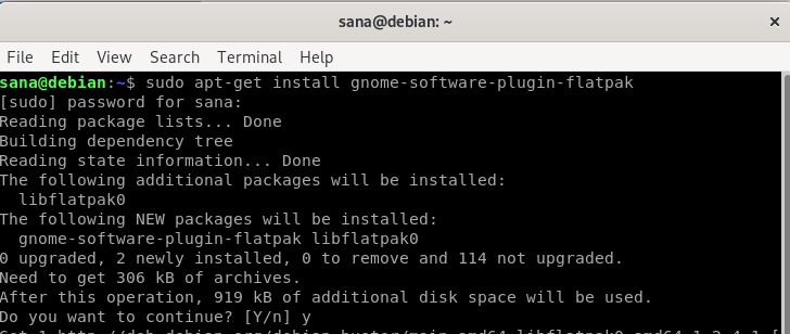 Install Flatpak Debian software installer plugin