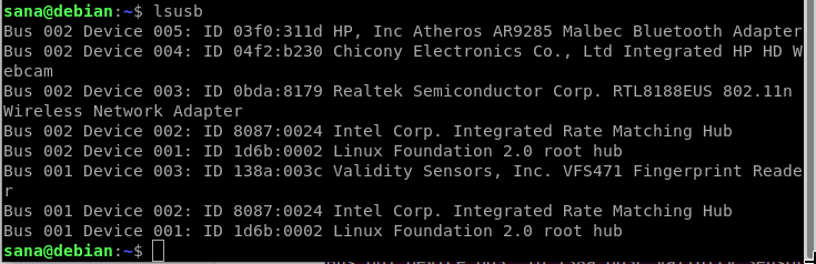 Get USB Device details on Debian Linux
