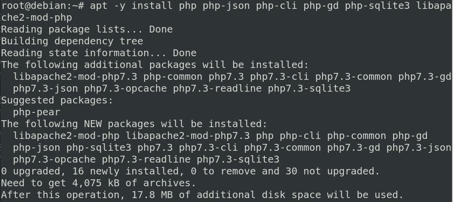 PHP scripting language installation