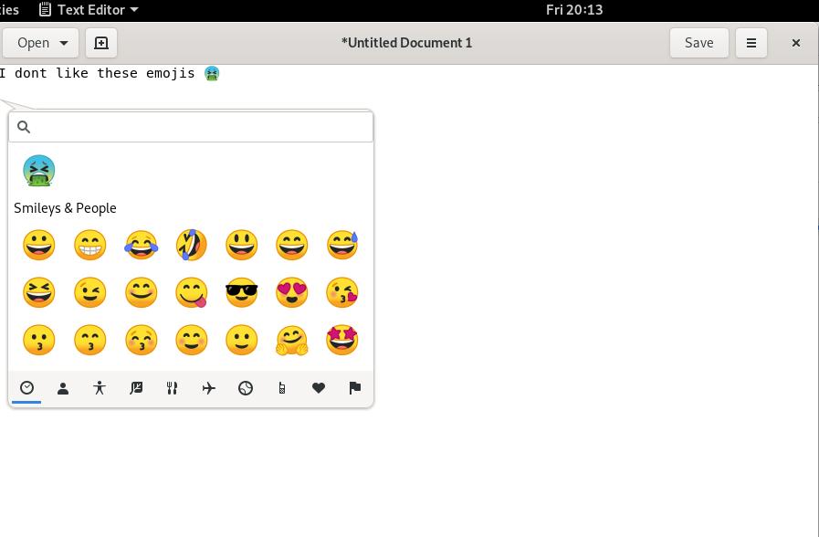 Emojis in Gedit