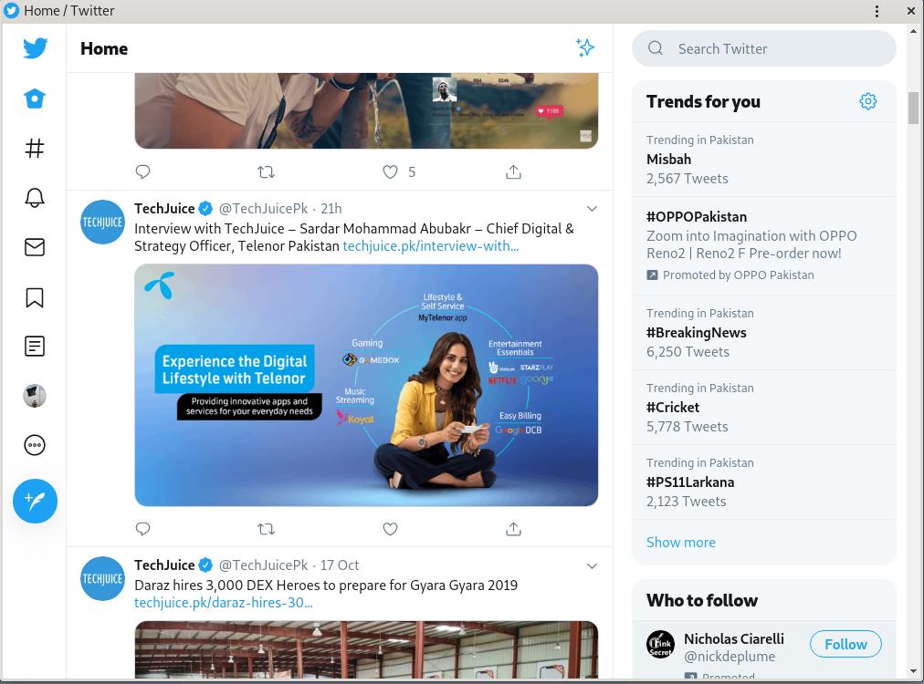 Twitter Lite app on Debian