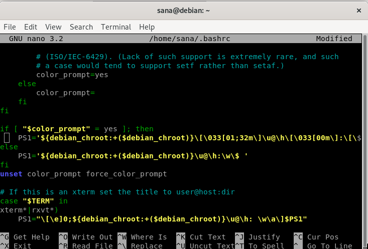 Edit bashrc using nano editor