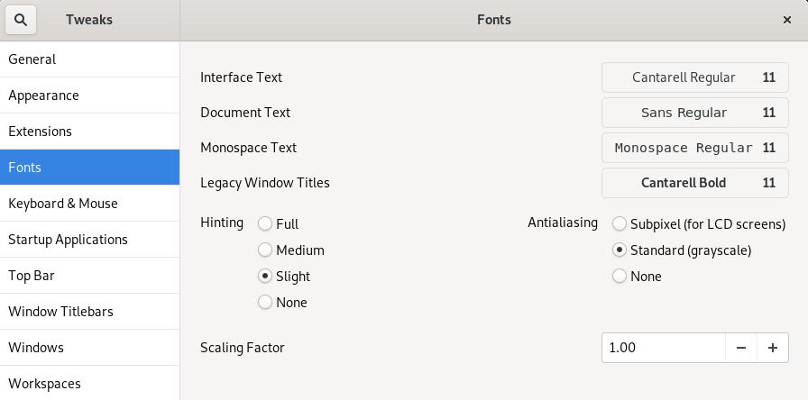 GNOME Tweaks - Font Settings