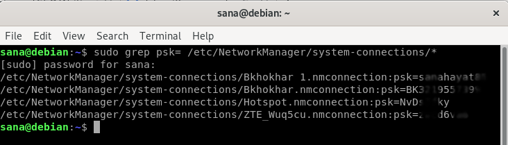 Get saved WiFi passwords from NetworkManager config files