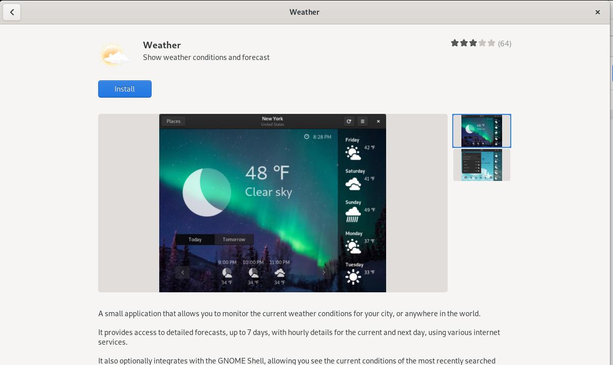 Install Weather app on Debian