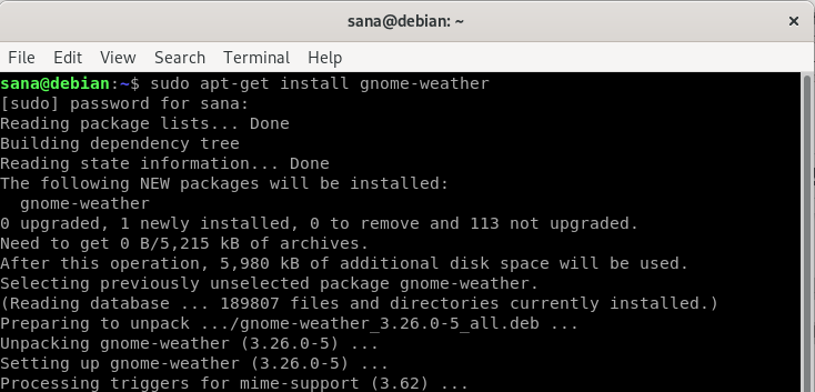 Install GNOME Weather using apt