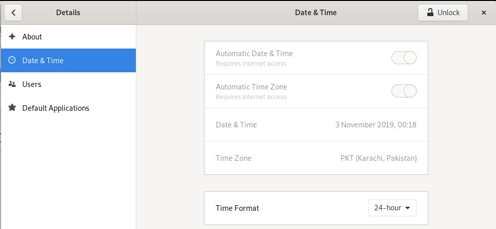 Date and Time settings in GNOME