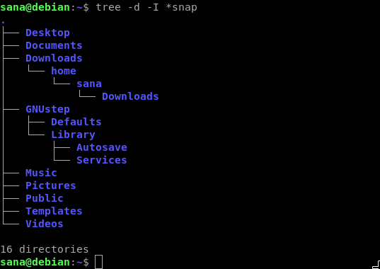 Tree -d -I