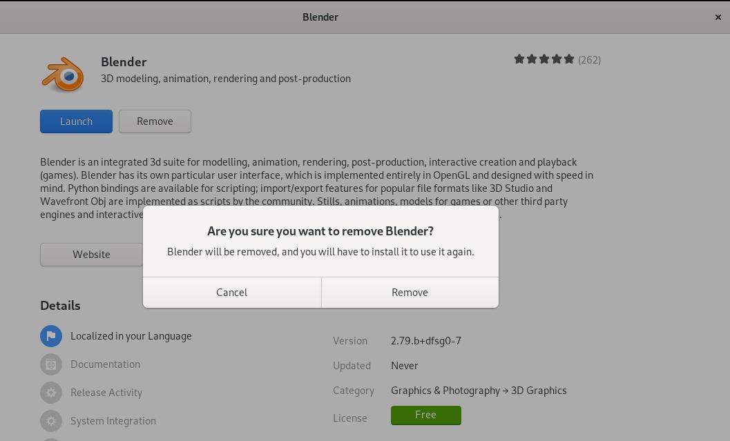 Remove Blender 3D Application