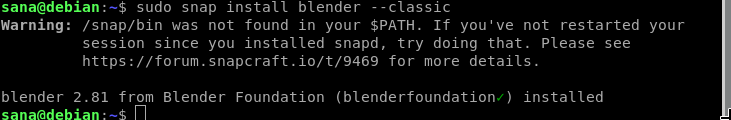 Install Blender 3D using snap