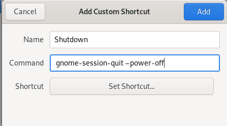 Create new poweroff shortcut