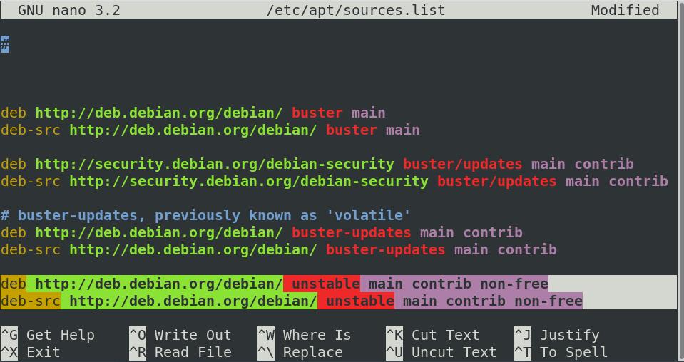 Edit sources list file