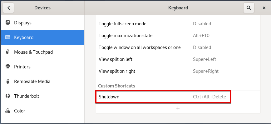 New custom shutdown shortcut