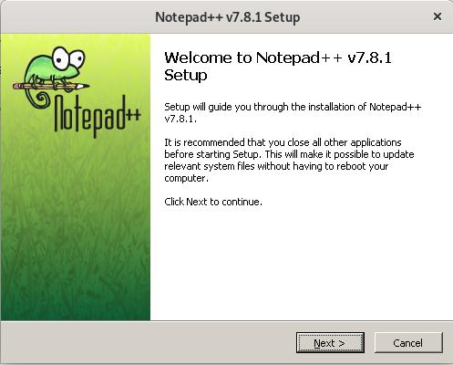 Notepad++ setup wizard