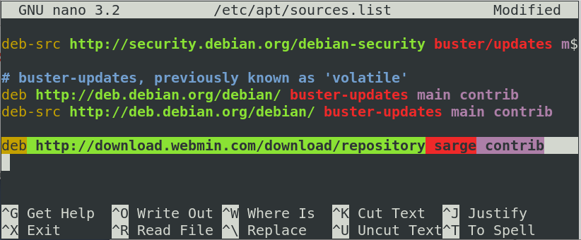 Edit sources.list file