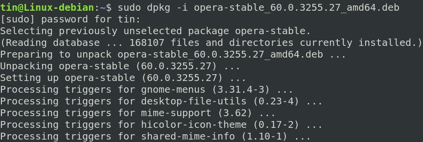 Install Opera using dpkg command