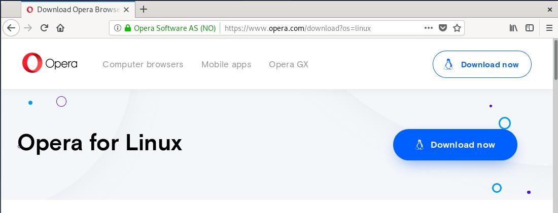 Opera homepage