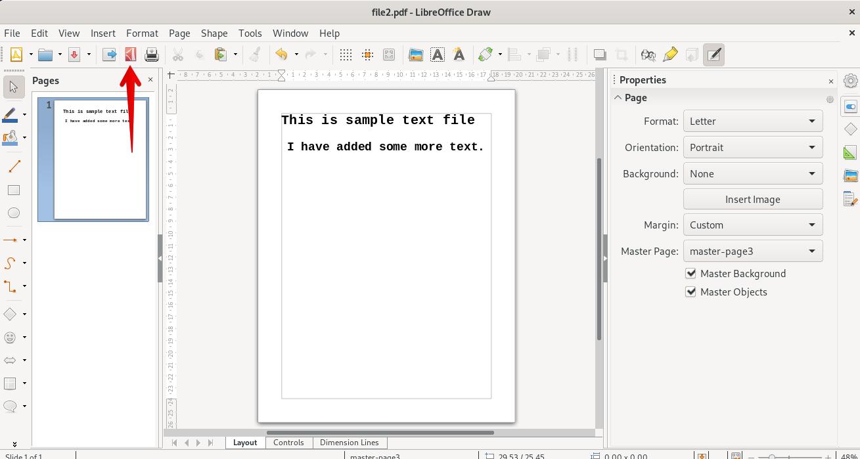 Save edited PDF file