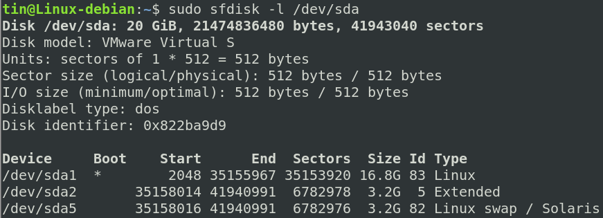 Linux sfdisk command
