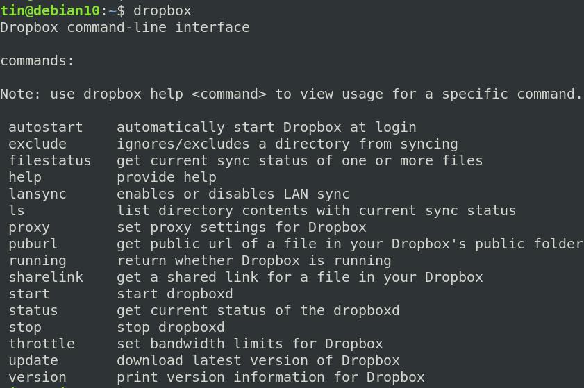 Dropbox command line client