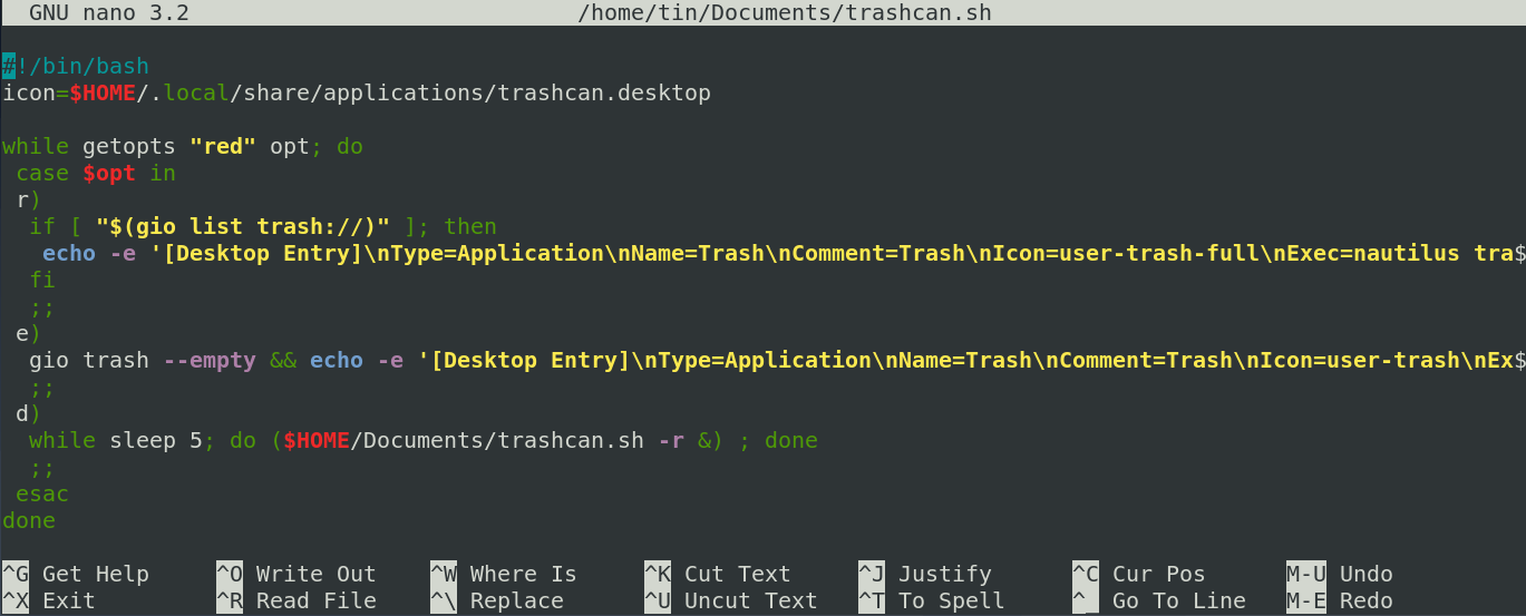 GNOME Trashcan in Activity Panel